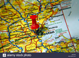 massachusetts road map map pin pointing to boston massachusetts usa on a road map