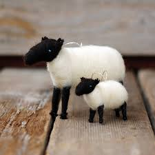 suffolk sheep and baby ornament duo needle felted