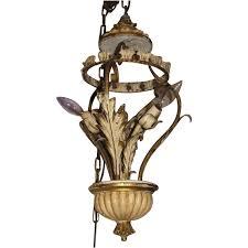Tole Chandelier Vintage Italian Tole Chandelier Florentine Metal U0026 Wood From