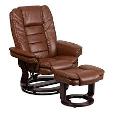 Chairs With Ottoman Flash Furniture Contemporary Beige Leather Recliner And Ottoman