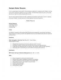 Resume Template For Bartender No Experience Resume Resume Example For Waitress