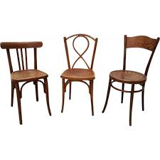 Vintage Bistro Chairs Vintage Set Of 3 Wooden Bistro Chairs 1950s Design Market
