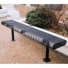 Commercial Outdoor Benches Webcoat Wire Style Surface Mount Steel Commercial Backless Bench