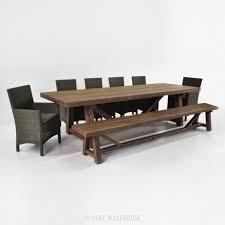 Teak Patio Furniture Reclaimed Teak Outdoor Dining Set W Bench U0026 Wicker Chairs Teak