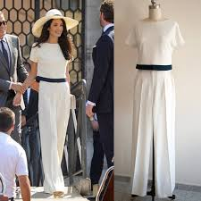 evening jumpsuits for weddings amal clooney suit white jumpsuit wedding