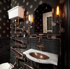 victorian sculpture bathroom eclectic with black subway tile