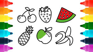 how to draw delicious fruits for kids coloring book and
