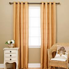 Gold Satin Curtains Lined Faux Silk Chenille Check Grommet Curtain Gold