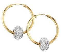 9ct gold hoop earrings buy revere 9ct gold glitter slider hoop earrings at argos