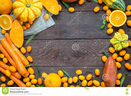 thanksgiving autumn background variety of orange fruits and