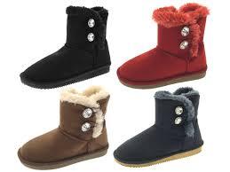 womens fur boots uk womens diamante button faux fur ankle boots size uk