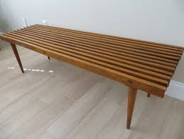 Broyhill Teak Bench Mid Century Modern Slat Wood Bench Coffee Table By Soulfulvintage