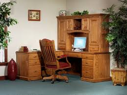 Wooden Desk With Shelves Amish L Desk With Hutch