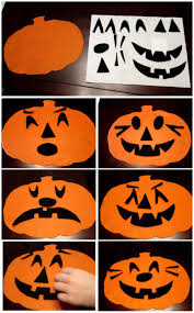 making different pumpkin faces using felt great social emotional
