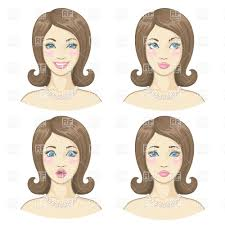 beautiful u0027s face showing different emotions vector clipart