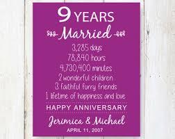9th wedding anniversary gifts 9th anniversary etsy