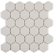 Beltile Athens Light Grey Hexagon 2 Inch Mosaic Glossy 2 Inch