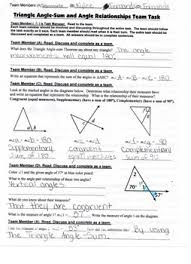 team task triangle angle sum and angle pair relationships