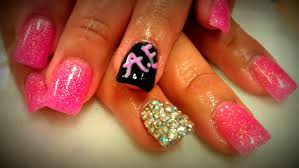 how to pink glitter acrylic nails youtube
