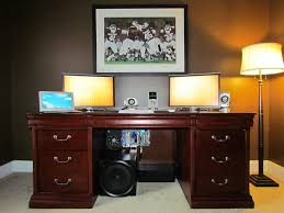 homemade double computer desk inspirations including playroom cool new dual monitor desk setup youtube dual monitor computer desks within simple with a dual monitor