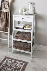 Bathroom Storage Ladder Furniture Bathroom Storage Shelf Ideas Feature White Wooden