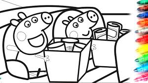 peppa pig with george pig riding in the car coloring pages video