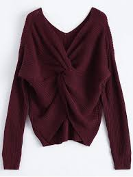 maroon sweater v neck twisted back sweater burgundy sweaters one size zaful