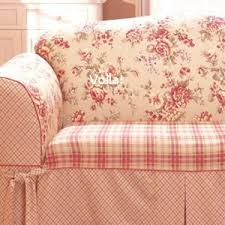 Red Sofa Slipcovers Sure Fit Shabby French Floral Toile Plaid Sofa Slipcover Red Couch