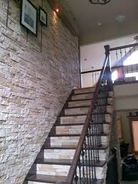 Kitchen Design With Basement Stairs Airstone For That Dramatic Wall Of Stone Going Up The Staircase