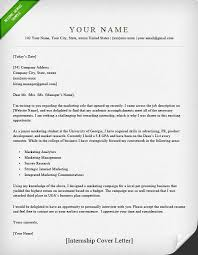 Example For Resume Cover Letter by Internship Cover Letter Sample Resume Genius