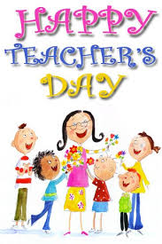 students celebrating teachers day with teacher greeting card