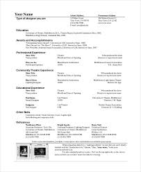 theatre resume theatre technician resume template the general format and tips