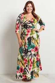 maxi dress with sleeves ivory tropic floral 3 4 sleeve plus size maxi dress