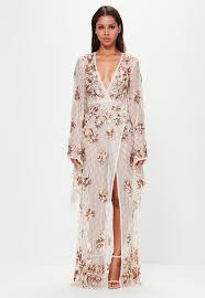 peace bronze kimono sleeve embellished maxi dress missguided