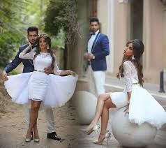 Summer Garden Dresses - fashion short wedding dresses arabic 2016 sheath tulle skirts lace
