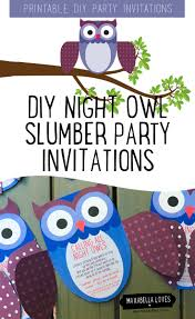 cute night owl slumber party invitations
