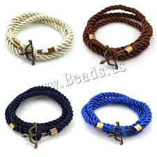 cord bracelet with charm images 2016 new fashion jewelry black anchor multilaye silver bracelet jpg