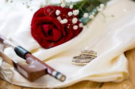 red rose rings images Violin red rose marriage rings wine and music notes on satin jpg
