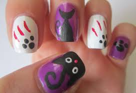 cute halloween nails halloween nail art designs black cats nails tutorial youtube