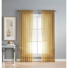window elements sheer gold solid voile extra wide sheer rod pocket