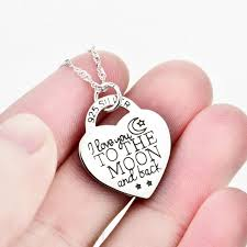 personalized photo pendant necklace i you to the moon and back heart s925 sterling silver
