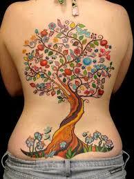colorful tree on back busbones