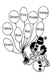 worksheet clown colors