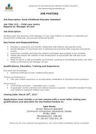 Child Care Job Description For Resume by Resume For Early Childhood Assistant Free Resume Example And