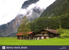 swiss chalet house in green valley near grindelwald switzerland