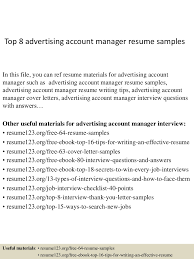Sample Resume Account Manager by Advertising Account Manager Resume Free Resume Example And