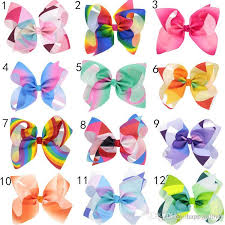cheap hair bows newest jojo rainbow color hair bows with clip for school baby