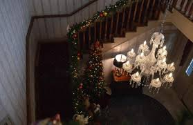 the lovely stairs decorated in christmas decorations picture of