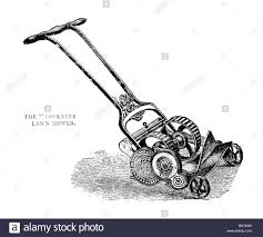 illustration of a victorian lawn mower this is
