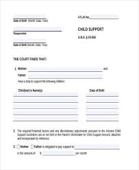 child support agreement template child support payment agreement